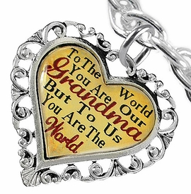 "<BR>         <i>""TO THE WORLD YOU ARE OUR GRANDMA,   <BR>                  BUT TO US YOU ARE THE WORLD""</i>  <BR>             BEAUTIFUL WORDS, BEAUTIFUL BRACELET  <BR>     HYPOALLERGENIC, NICKEL, LEAD, CADMIUM FREE!  <BR>   W1819B5 - ""GRANDMA"" HEART CHARM ON CHAIN LINK <BR>TOGGLE CLASP BRACELET FROM $7.90 TO $12.50 �2016"