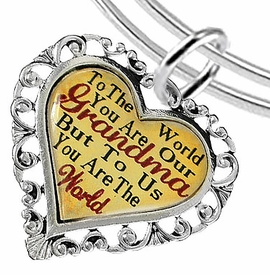 "<BR>         <i>""TO THE WORLD YOU ARE OUR GRANDMA,   <BR>                  BUT TO US YOU ARE THE WORLD""</i>  <BR>             BEAUTIFUL WORDS, BEAUTIFUL BRACELET  <BR>     HYPOALLERGENIC, NICKEL, LEAD, CADMIUM FREE!  <BR>  W1819B9 - ""GRANDMA"" HEART CHARM ON ADJUSTABLE <BR>MIRACLE WIRE BRACELET FROM $7.90 TO $12.50 �2016"