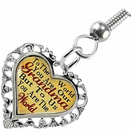"<BR>           <i>""TO THE WORLD YOU ARE OUR GRANDMA,        <BR>                  BUT TO US YOU ARE THE WORLD""</i>       <BR>          BEAUTIFUL WORDS, BEAUTIFUL EARRINGS <BR> HYPOALLERGENIC, NICKEL, LEAD, CADMIUM  FREE!       <BR> W1819E1 - ""GRANDMA"" HEART CHARM ON FISH HOOK    <BR>    STYLE EARRINGS FROM $7.90 TO $12.50 �2016"