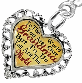 "<BR>           <i>""TO THE WORLD YOU ARE OUR GRANDMA,        <BR>                  BUT TO US YOU ARE THE WORLD""</i>       <BR>          BEAUTIFUL WORDS, BEAUTIFUL EARRINGS <BR> HYPOALLERGENIC, NICKEL, LEAD, CADMIUM  FREE!       <BR> W1819E2 - ""GRANDMA"" HEART CHARM ON SOLID POST    <BR>    STYLE EARRINGS FROM $7.90 TO $12.50 �2016"