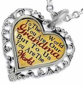 "<BR>         <i>""TO THE WORLD YOU ARE OUR GRANDMA,    <BR>                  BUT TO US YOU ARE THE WORLD""</i>   <BR>          BEAUTIFUL WORDS, BEAUTIFUL NECKLACE  <BR> HYPOALLERGENIC, NICKEL, LEAD, CADMIUM  FREE!   <BR>W1819N1 - ""GRANDMA"" HEART CHARM ON CHAIN LINK  <BR>          NECKLACE FROM $7.90 TO $12.50 �2016"