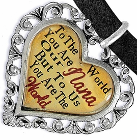 "<BR>               <i>""TO THE WORLD YOU ARE OUR NANA,   <BR>                   BUT TO US YOU ARE THE WORLD""</i>  <BR>           BEAUTIFUL WORDS, BEAUTIFUL BRACELET  <BR>   HYPOALLERGENIC, NICKEL, LEAD, CADMIUM  FREE!  <BR> W1820B3 - ""NANA"" HEART CHARM ON BLACK SUEDE WITH <BR>LOBSTER CLASP BRACELET FROM $7.90 TO $12.50 �2016"