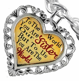 "<BR>            <i>""TO THE WORLD YOU ARE OUR SISTER,    <BR>                   BUT TO US YOU ARE THE WORLD""</i>    <BR>          BEAUTIFUL WORDS, BEAUTIFUL BRACELET    <BR>   HYPOALLERGENIC, NICKEL, LEAD, CADMIUM FREE!    <BR> W1822B5 - ""SISTER"" HEART CHARM ON CHAIN LINK  <BR>TOGGLE CLASP BRACELET FROM $7.90 TO $12.50 �2016"