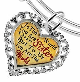 "<BR>            <i>""TO THE WORLD YOU ARE OUR SISTER,    <BR>                   BUT TO US YOU ARE THE WORLD""</i>    <BR>          BEAUTIFUL WORDS, BEAUTIFUL BRACELET    <BR>   HYPOALLERGENIC, NICKEL, LEAD, CADMIUM FREE!    <BR> W1822B9 - ""SISTER"" HEART CHARM ON ADJUSTABLE THIN  <BR>MIRACLE WIRE BRACELET FROM $7.90 TO $12.50 �2016"