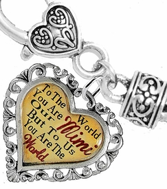 "<BR>            <i>""TO THE WORLD YOU ARE OUR MIMI,   <BR>                   BUT TO US YOU ARE THE WORLD""</i>  <BR>          BEAUTIFUL WORDS, BEAUTIFUL BRACELET  <BR> HYPOALLERGENIC, NICKEL, LEAD, CADMIUM  FREE!  <BR> W1823B1 - ""MIMI"" HEART CHARM ON WHEAT CHAIN   <BR>          BRACELET FROM $7.90 TO $12.50 �2016"