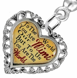 "<BR>           <i>""TO THE WORLD YOU ARE OUR MIMI,         <BR>                  BUT TO US YOU ARE THE WORLD""</i>        <BR>          BEAUTIFUL WORDS, BEAUTIFUL EARRINGS  <BR> HYPOALLERGENIC, NICKEL, LEAD, CADMIUM  FREE!        <BR>    W1823E2 - ""MIMI"" HEART CHARM ON SOLID POST     <BR>    STYLE EARRINGS FROM $7.90 TO $12.50 �2016"