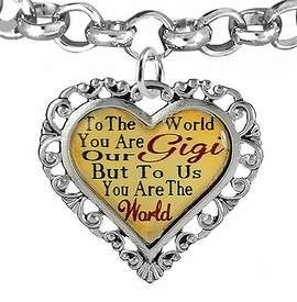 "<BR>            <i>""TO THE WORLD YOU ARE OUR GIGI,    <BR>                   BUT TO US YOU ARE THE WORLD""</i>   <BR>          BEAUTIFUL WORDS, BEAUTIFUL BRACELET   <BR> HYPOALLERGENIC, NICKEL, LEAD, CADMIUM  FREE!   <BR> W1824B2 - ""GIGI"" HEART CHARM ON ROLO CHAIN    <BR>    LINK BRACELET FROM $7.90 TO $12.50 �2016"