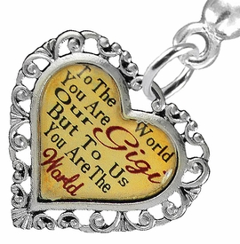 "<BR>           <i>""TO THE WORLD YOU ARE OUR GIGI,         <BR>                  BUT TO US YOU ARE THE WORLD""</i>        <BR>          BEAUTIFUL WORDS, BEAUTIFUL EARRINGS  <BR> HYPOALLERGENIC, NICKEL, LEAD, CADMIUM  FREE!        <BR>    W1824E2 - ""GIGI"" HEART CHARM ON SOLID POST      <BR>    STYLE EARRINGS FROM $7.90 TO $12.50 �2016"