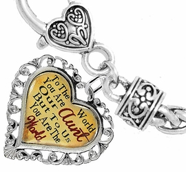 """<BR>            <i>""""TO THE WORLD YOU ARE OUR AUNT,   <BR>                   BUT TO US YOU ARE THE WORLD""""</i>  <BR>          BEAUTIFUL WORDS, BEAUTIFUL BRACELET  <BR> HYPOALLERGENIC, NICKEL, LEAD, CADMIUM  FREE!  <BR> W1825B1 - """"AUNT"""" HEART CHARM ON WHEAT CHAIN   <BR>          BRACELET FROM $7.90 TO $12.50 �2016"""