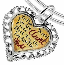 """<BR>            <i>""""TO THE WORLD YOU ARE OUR AUNT,    <BR>                   BUT TO US YOU ARE THE WORLD""""</i>   <BR>          BEAUTIFUL WORDS, BEAUTIFUL BRACELET   <BR> HYPOALLERGENIC, NICKEL, LEAD, CADMIUM  FREE!   <BR> W1825B9 - """"AUNT"""" HEART CHARM ON ADJUSTABLE THIN  <BR>MIRACLE WIRE BRACELET FROM $7.90 TO $12.50 �2016"""