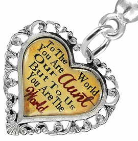 """<BR>           <i>""""TO THE WORLD YOU ARE OUR AUNT,         <BR>                  BUT TO US YOU ARE THE WORLD""""</i>        <BR>          BEAUTIFUL WORDS, BEAUTIFUL EARRINGS  <BR> HYPOALLERGENIC, NICKEL, LEAD, CADMIUM  FREE!        <BR>    W1825E2 - """"AUNT"""" HEART CHARM ON SOLID POST      <BR>    STYLE EARRINGS FROM $7.90 TO $12.50 �2016"""