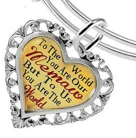 "<BR>            <i>""TO THE WORLD YOU ARE OUR MEMAW,    <BR>                   BUT TO US YOU ARE THE WORLD""</i>   <BR>          BEAUTIFUL WORDS, BEAUTIFUL BRACELET   <BR> HYPOALLERGENIC, NICKEL, LEAD, CADMIUM  FREE!   <BR> W1826B9 - ""MEMAW"" HEART CHARM ON ADJUSTABLE <BR> MIRACLE WIRE BRACELET FROM $7.90 TO $12.50 �2016"