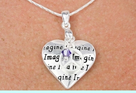 """<bR>    W18380N - SILVER TONE SNAKE CHAIN<Br>      """"IMAGINE"""", HEART AND PEACE SIGN<BR>        NECKLACE FROM $9.40 TO $20.00"""