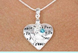 """<bR>    W18382N - SILVER TONE SNAKE CHAIN<Br>   """"PEACE"""", HEART AND DOVE<BR>          NECKLACE FROM $9.40 TO $20.00"""