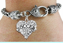 """<BR>     WHOLESALE FASHION HEART JEWELRY <bR>                   EXCLUSIVELY OURS!! <Br>              AN ALLAN ROBIN DESIGN!!  <BR>        LEAD, NICKEL & CADMIUM FREE!! <BR>   W1583SB - ANTIQUED SILVER TONE AND <BR>CLEAR CRYSTAL """"SOCCER"""" HEART CHARM <BR>   BRACELET FROM $5.40 TO $9.85 �2014<BR>        PICTURED ABOVE """"WHEAT CHAIN <BR>                  HEART LOBSTER BRACELET"""