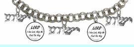 """MESSIANIC """"LORD I AM LOST, HELP ME FIND THE WAY"""", <BR>& """"YESHUA"""" BRACELET <BR>CLICK HERE TO OPEN, AND CLICK ON PICTURE TO SEE DETAIL<br>     <br>W1793-1789-1793-1789-1793B2     <br> ADJUSTABLE - NICKLE, CADIUM, LEAD FREE<br> ON A ROLLO CHAIN $11.83 EACH �2019"""