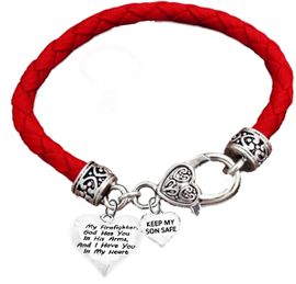 "<br>        "" My Firefighter, God Has You In His Arms, <BR>And I Have You In My Heart "", ""Keep My Son Safe"" <BR>          On A Genuine Red Leather Bracelet�2018<BR>                          W1900-1886B36  $12.38"