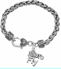 """<br>          """"I LOVE TO FLY"""" CRYSTAL CHARM BRACELET<br>     HYPOALLERGENIC WHEAT CHAIN CHARM BRACELET<br>                 NICKLE, LEAD, AND CADMIUM FREE<BR>                    W1907B1 - $11.38 EACH  �2018"""