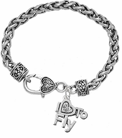 "<br>          ""I LOVE TO FLY"" CRYSTAL CHARM BRACELET<br>     HYPOALLERGENIC WHEAT CHAIN CHARM BRACELET<br>                 NICKLE, LEAD, AND CADMIUM FREE<BR>                    W1907B1 - $11.38 EACH  �2018"