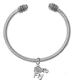 """<br>        """"I LOVE TO FLY"""" CRYSTAL HEART CHARM<br>        ADJUSTABLE CABLE CHARM BRACELET<br>         WITH GENUINE CLEAR CRYSTAL ENDS<br>         NICKLE, LEAD, AND CADMIUM FREE <br>              W1907B22 �2018  $11.38 EACH"""