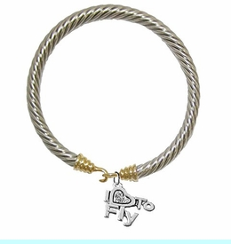 """<br>      """"I LOVE TO FLY"""" CRYSTAL HEART CHARM<br>        TWO-TONE SILVER AND GOLD  CHARM <br> BRACELET - NICKLE, LEAD, AND CADMIUM FREE. <br>                 W1907B24  �2018  $11.38 EACH"""