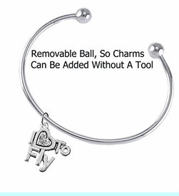 """<br>       """"I LOVE TO FLY"""" CRYSTAL HEART CHARM<br>     ADJUSTABLE WIRE CHARM BRACELET WITH<br>        REMOVABLE BALL ENDS, ADD CHARMS<br> WITHOUT TOOLS. W1907B8 $10.38 EACH �2018"""