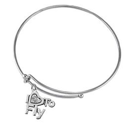 """<br>    """"I LOVE TO FLY"""" CRYSTAL HEART CHARM<br> ADJUSTABLE MIRACLE WIRE CHARM BRACELET<br>            NICKLE, LEAD, AND CADMIUM FREE <br>                  W1907B9  $10.38 EACH �2018"""