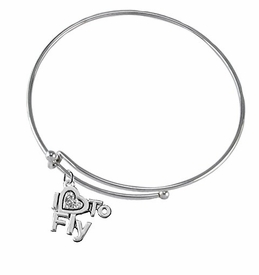 "<br>    ""I LOVE TO FLY"" CRYSTAL HEART CHARM<br> ADJUSTABLE MIRACLE WIRE CHARM BRACELET<br>            NICKLE, LEAD, AND CADMIUM FREE <br>                  W1907B9  $10.38 EACH �2018"
