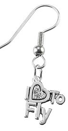 "w1907e1<br>""I Love To Fly"" Crystal Heart Charms<br> on Hypoallergenic Fishhook Earrings<br> Nickel, Lead, And Cadmium Free"