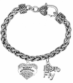 W1908-1907B18<br>Flight Attendant Crystal & I Love To Fly<br>Crystal Heart Charms On Wheat Chain <br> Heart-Shaped Lobster Clasp Charm Bracelet