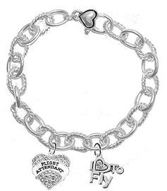 W1908-1907B19<br>Flight Attendant, I Love To Fly, <br>Genuine Crystal Heart Charms On <br>Cable Chain Charm Bracelet. <br>Nickel, Lead, And Cadmium Free