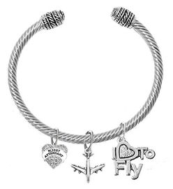 """w1908-1909-1907b22<br>""""Flight Attendant"""", Jet Plane & """" I Love To Fly """" <br> Crystal and Silvertone Charms on Adjustable <br>Genuine Cable Charm Bracelet With Crystal Ends"""