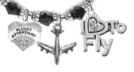 """W1908-1909-1907B25 <br>Airline Flight Attendant, """" I Love To Fly """",<br> Hypoallergenic Black Crystal Charm Bracelet,<br> Nickel, Lead, And Cadmium Free"""