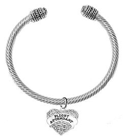 """w1908b22<br>""""Flight Attendant"""" Crystal Heart Charm On<br>Cable Charm Bracelet With Crystal Ends <br> Nickel, Lead, And Cadmium Free"""