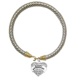 """W1908B24<br>Airline """"Flight Attendant"""" Crystal Heart Charm On<br>Genuine Cable Gold / Silvertone Charm Bracelet<br> Nickel, Lead, And Cadmium Free"""