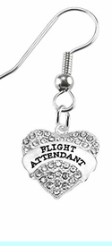 """w1908e1<br>""""Flight Attendant"""" Crystal Heart Charm On<br> Hypoallergenic Stainless Steel Fishhook Earrings<br> Nickel, Lead, And Cadmium Free"""