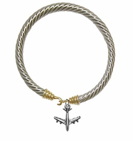 w1909b24<br>Jet Airplane Silvertone Charm on<br> Genuine Cable Goldtone / Silvertone Charm <br>Bracelet - Nickel, Lead, And Cadmium Free