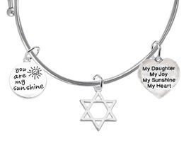 "<BR>                         W1920-1929-600B9-'You Are My Sunshine"", <BR>Star Of David, "" My Daughter, My Joy, My Sunshine, My Heart "" <BR>On A Adjustable Miracle Wire Bracelet �2019 Wholesale $12.68 EACH"