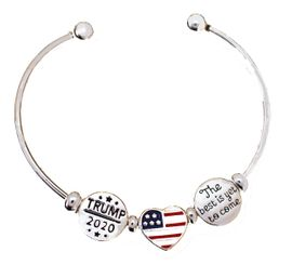 <BR><B>NEW! TRUMP 2020 ADJUSTABLE, SILVER TONE</b><BR> CHARM BRACELET, BALL END SCREW BALL BRACELET, ADD<BR> OR REMOVE CHARMS WITHOUT TOOLS, HYPOALLERGENIC-SAFE. NO NICKEL,<BR> NO LEAD, NO POISONOUS CADMIUM. W196-197-198B60  $8.99 EACH