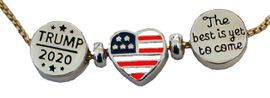 """<B>NEW! TRUMP 2020 ADJUSTABLE GOLD BOX CHAIN NECKLACE </B><BR>WITH HEART AMERICAN FLAG CHARM, AND """"THE BEST IS YET TO COME"""" CHARM.<BR> HYPOALLERGENIC-SAFE NO NICKEL, LEAD, OR POISONOUS CADMIUM<BR>W196-197-198N40 $8.99 EACH �2020"""