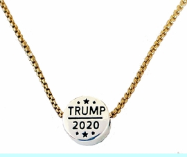 <BR><B>Trump 2020 Adjustable Gold Box Chain Necklace,< BR>18 Inch - 21 Inch Chain With Attached Extender.<BR>Hypoallergenic-Safe.No Nickel, No Lead, No Poisonous Cadmium Free.<BR>W196N40   $8.99 Each �2020