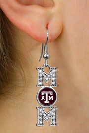 """<br>  WHOLESALE COLLEGE FASHION JEWELRY <bR>        CADMIUM, LEAD & NICKEL FREE!! <BR>        OFFICIAL COLLEGIATE JEWELRY!! <BR>    W20654E - SILVER TONE AND CRYSTAL <BR>    TEXAS A&M UNIVERSITY AGGIES """"MOM"""" <BR>   EARRINGS FROM $3.94 TO $8.75 �2013"""