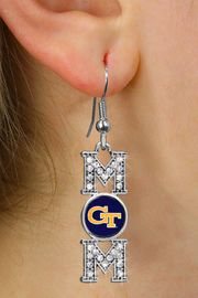 "<br>     WHOLESALE COLLEGE FASHION JEWELRY <bR>         CADMIUM, LEAD & NICKEL FREE!! <BR>   	   OFFICIAL COLLEGIATE JEWELRY!! <BR>     W20662E - SILVER TONE AND CRYSTAL <BR>       GEORGIA TECH UNIVERSITY ""MOM"" <BR>    EARRINGS FROM $1.99"