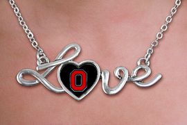 """<br>   WHOLESALE COLLEGE FASHION NECKLACES <bR>          CADMIUM, LEAD & NICKEL FREE!! <BR>       OFFICIAL COLLEGIATE JEWELRY!! <BR> W20674N - POLISHED SILVER TONE SCRIPT <BR>  """"LOVE"""" OHIO STATE UNIVERSITY PENDANT <BR>     NECKLACE FROM $3.94 TO $8.75 �2013"""