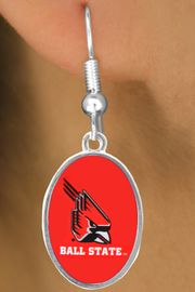 """<Br>         LEAD & NICKEL FREE!!<Br>       OFFICIALLY LICENSED!!! <bR>W20680E - BALL STATE UNIVERSITY <BR>""""CARDINALS"""" OVAL FISHHOOK EARRINGS <BR>         FROM $3.94 TO $8.75"""