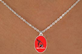 """<Br>                  LEAD & NICKEL FREE!!<Br>                OFFICIALLY LICENSED!!<bR> W20683N - BALL STATE UNIVERSITY <BR> """"CARDINALS"""" LOGO NECKLACE<Br>           FROM $3.94 TO $8.75"""