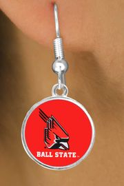 """<Br>         LEAD & NICKEL FREE!!<Br>       OFFICIALLY LICENSED!!! <bR>W20685E - BALL STATE UNIVERSITY <BR>""""CARDINALS"""" FISHHOOK EARRINGS <BR>         FROM $3.94 TO $8.75"""