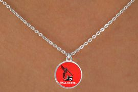 """<Br>                  LEAD & NICKEL FREE!!<Br>                OFFICIALLY LICENSED!!<bR> W20686N - BALL STATE UNIVERSITY <BR> """"CARDINALS"""" LOGO NECKLACE<Br>           FROM $3.94 TO $8.75"""