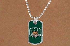"""<Br>               LEAD & NICKEL FREE!!<Br>         STERLING SILVER PLATED!! <bR>W20687N - LICENSED OHIO UNIVERSITY <Br>  """"BOBCATS"""" LOGO DOG TAG<br>    NECKLACE FROM $3.94 TO $8.75"""