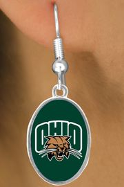 """<Br>         LEAD & NICKEL FREE!!<Br>       OFFICIALLY LICENSED!!! <bR>W20688E - OHIO UNIVERSITY """"BOBCATS"""" <BR>     FISHHOOK OVAL EARRINGS <BR>         FROM $3.94 TO $8.75"""
